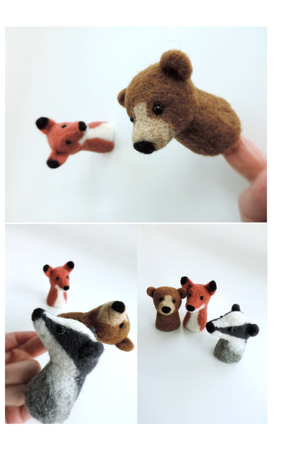 Fingerpuppe aus Filz Hund